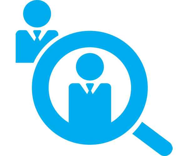 candidate magnifying glass icon, blue