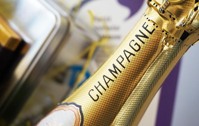 champagne bottle in winter hamper
