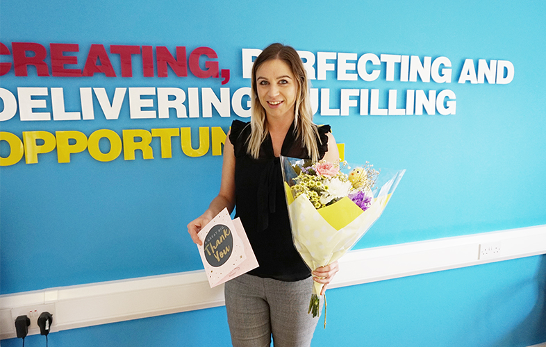 sian netbox recruitment thank you card and flowers