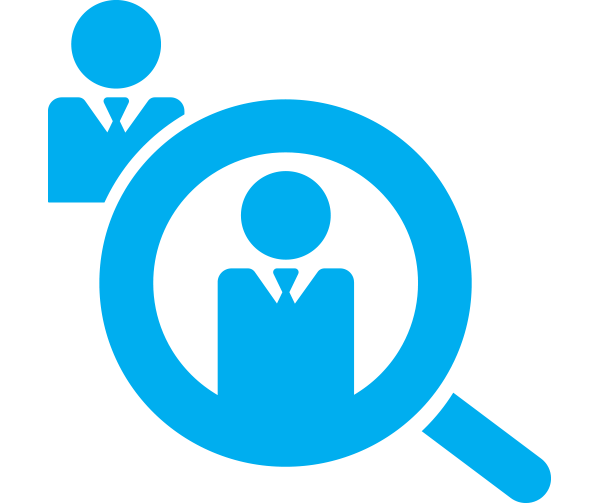 Magnifying glass on candidates icon, blue