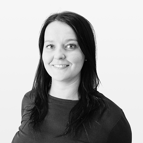 Megan Brown, Talent Resourcer, Netbox Recruitment, black and white portrait photo