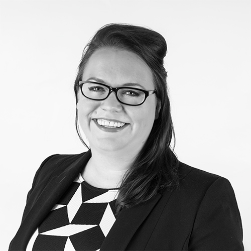Sarah Gilbertson, Director, Netbox Recruitment, black and white portrait photo