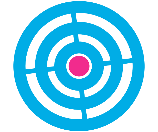 Target icon, bluer and pink