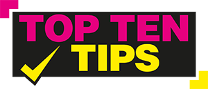 top ten tips title for job interviews, pink, yellow and black title with tick symbol